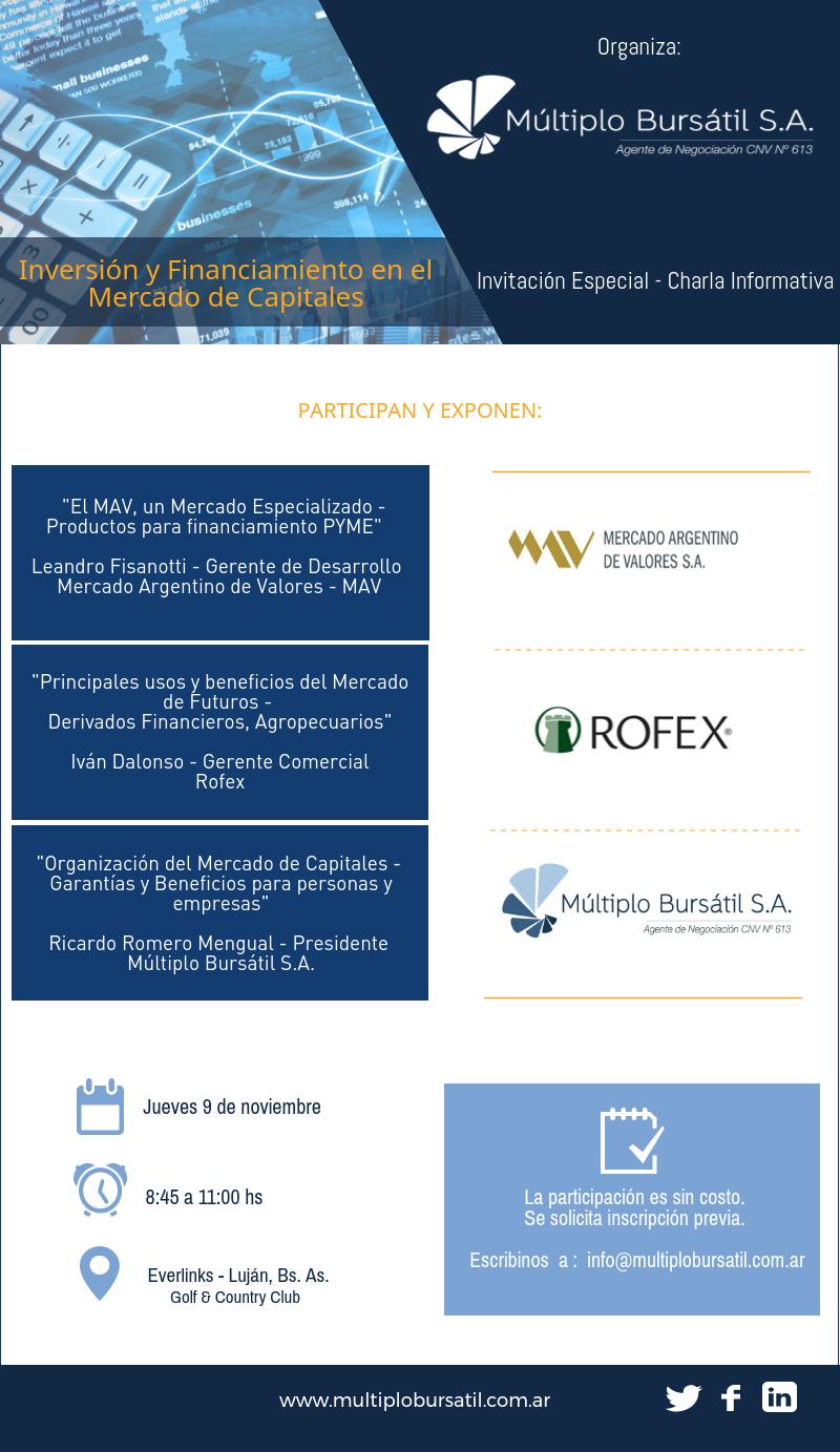 Invitación: Charla sobre Inversión y Financiamiento en el Mercado de Capitales